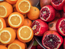 Oranges And Pomegranate's At A Market In Tel Aviv, Israel