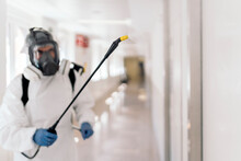 Worker Disinfecting Hospital