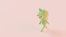 3D Illustration, 3D Rendering. Cute Cartoon Green Cat