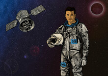 Astronaut With The Earth And Satellite Behind