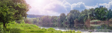 Summer Landscape With Trees By The River And Picturesque Sky, Panorama