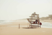 Lifeguard Chair On An Empty Beach