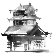 Japanese Building On White Background