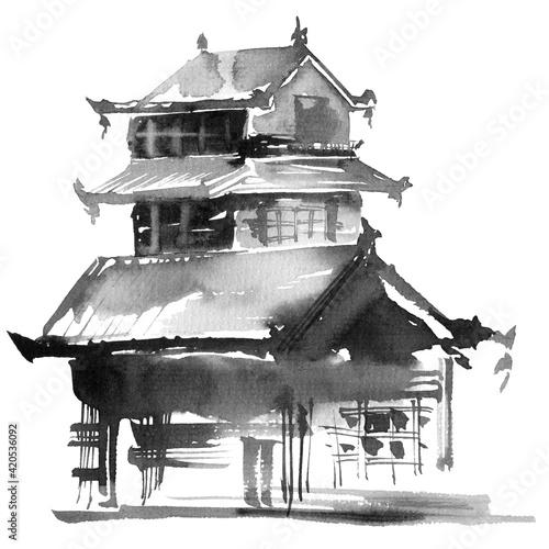 Photo Japanese building on white background