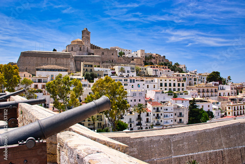 Row of cannon guns on top of the building in Ibiza Island, Spain