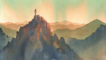 Watercolor Landscape. Man On The Peak Of The Mountain. Shiluette Of The Mountains