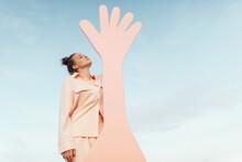 Fashionable Teen Girl With Hand Shaped Figure