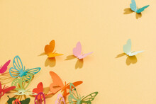 Paper Colorful Butterflies Fly On Wall In Different Directions
