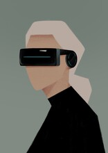 Portrait Of A Woman In VR Glasses. Virtual Reality Concept