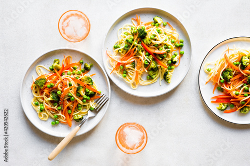 Pasta dinner with spring vegetables