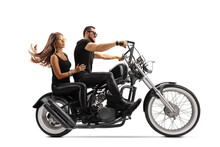 Young Man And Woman On A Chopper Motorbike