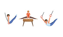 Young Guy Training On Different Gymnastics Apparatus Like Pommel Horse And Rings Vector Set