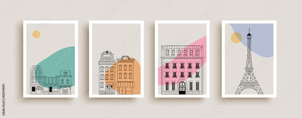 Fototapeta Cute paris city houses doodle poster collection