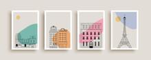 Cute Paris City Houses Doodle Poster Collection