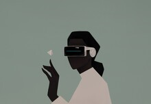 Portrait Of A Black Woman In VR Glasses. Virtual Reality Concept