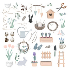 Vector Scandinavian Easter Set With Spring Decor, Garden Tools, Bunny Figure, Willow Branches, Eggs, And Nest. Season Design Elements Collection