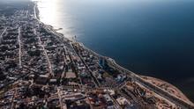 Mazatlan Cityscape Drone Shot. Long Embankment Along The Sea.