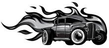 Monochromatic Vintage Car, Hot Rod Garage, Hotrods Car,old School Car. Vector
