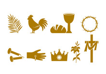 Christian Easter Icon Symbols. Palm Branch, Cross Of Jesus Christ, Rooster, Crown Of Thorns, Bowl And Bread, Crucified Palms.