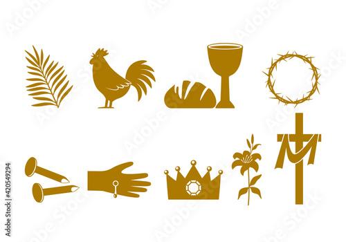 Canvas Print Christian Easter icon symbols