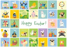 Vector Easter Cards With Cats And Dogs And Spring Flowers. Happy Easter