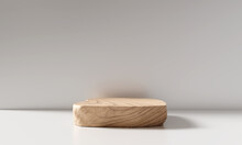 Wooden Product Display Podium On White  Background. 3D Rendering