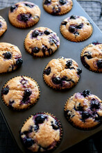 Tray Of Blueberry Muffins
