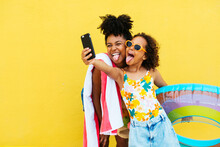 Funny Black Mother And Daughter Taking Selfie In Summer