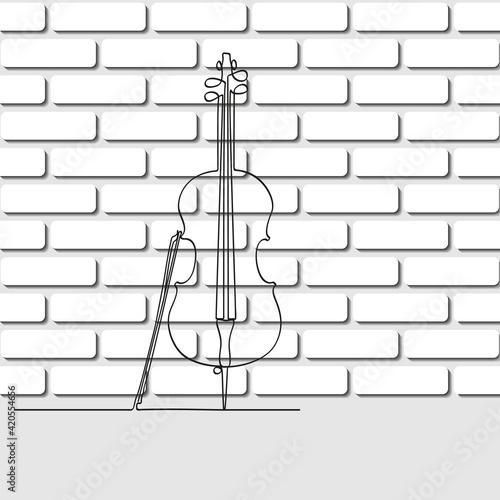 Slika na platnu Cello in a single line against a white brick wall