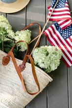 Freshly Cut Hydrangeas With An American Flag