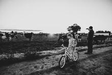 Girl On Bike In Lane