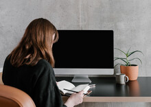 Young Woman With Planner Working Remotely At Home