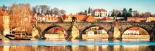 Prague, Charles Bridge Reflected In Vltava River