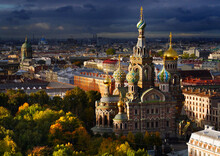 Iconic Russian Church During Squally Autumn Day.