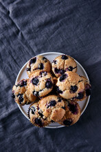 Overhead Of Blueberry Muffins
