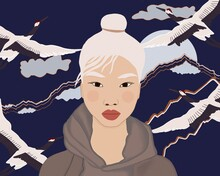 Blond Asian Woman Against Mountains And Birds