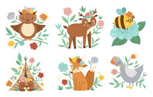 Vector Woodland Animals, Insects And Birds Collection. Boho Forest Floral Compositions. Bohemian Fox, Owl, Bear, Deer, Goose With Flowers On Heads. Celestial Clip Art With Cute Characters For Cards..