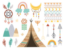 Vector Boho Elements Collection. Bohemian Half Moon, Wigwam, Dream Catcher, Flowers, Arrows, Pattern, Feathers Isolated On White Background. Celestial Icons Pack..