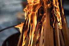 Lighting Of A Backyard Bonfire