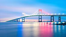 Newport Bridge In Red, White And Blue