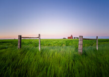 Abandoned Grain Elevator In Sunset