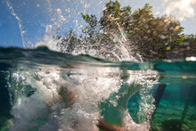 Sunny Summer Day At Lakeshore Over-Under Underwater Splash From