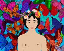 Asian Man In Wreath Against Butterflies