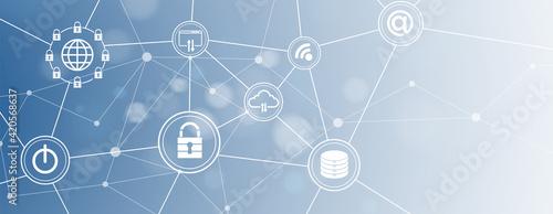 Fotografie, Tablou internet digital security technology concept for business background