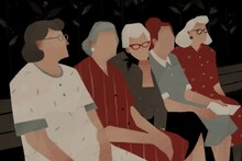 Old Women Talking To Each Other While Sitting On A Bench. Aging Up Concept