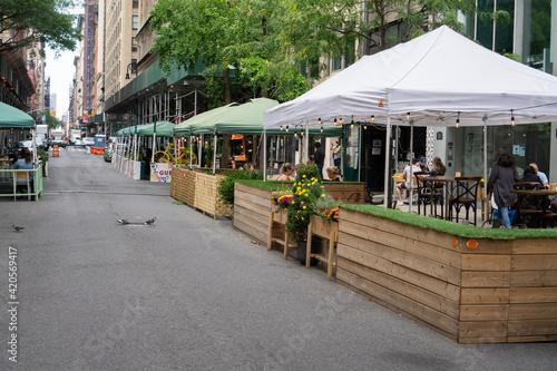 New York, USA - October 10 2020: An outdoor restaurant in midtown Manhattan. Covid outdoor dining