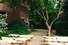 Wooden Benches With Sheepskin For Small And Intimate Wedding Ceremony Outdoors