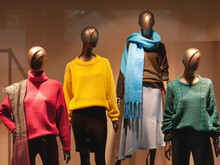 Shop Mannequins Wearing Colorful Clothes