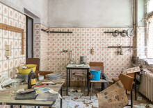 Vintage Kitchen In Run-down House, Looks Like Chaos
