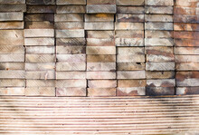 Closeup Of Stacks Of Lumber And Plywood